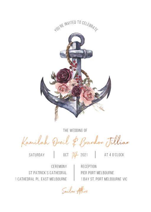 Flower Anchor - Wedding Invitations