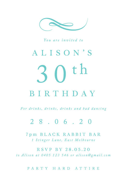 Fifth Avenue - birthday invitations