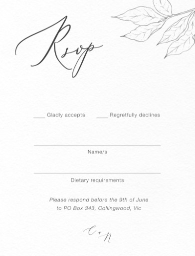 Graphite Blooms - RSVP Cards