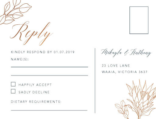 Rsvp Cards | Customise And Print Online - Paperlust