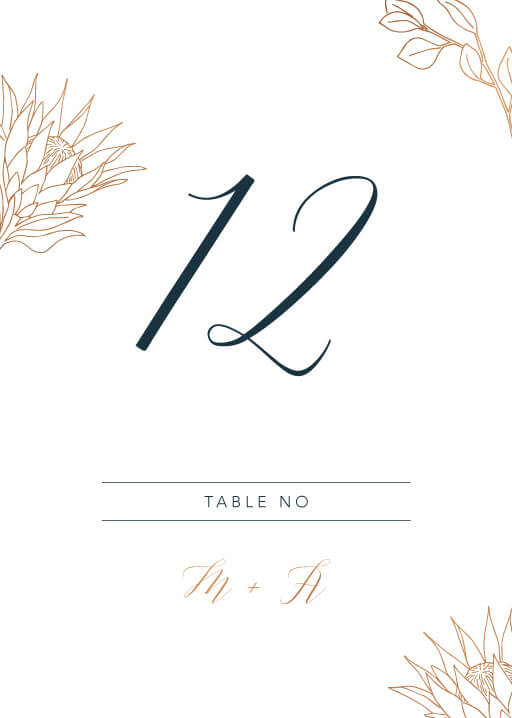 The King Protea - table numbers