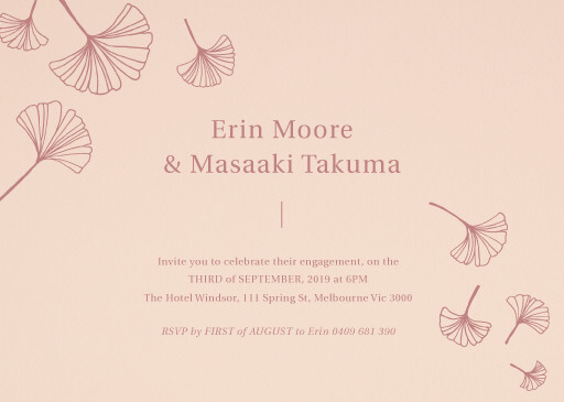 Dancing Ginkgo - engagement invitations
