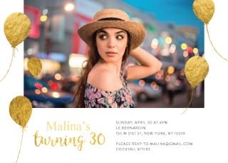 Gold Balloons - Birthday Invitations