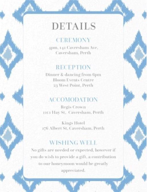 Subtle Blue Ikat - Information Cards