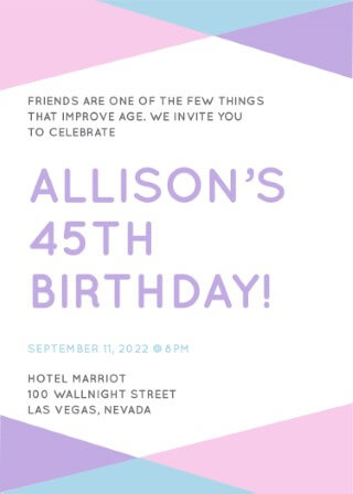 Geo Colour - Birthday Invitations