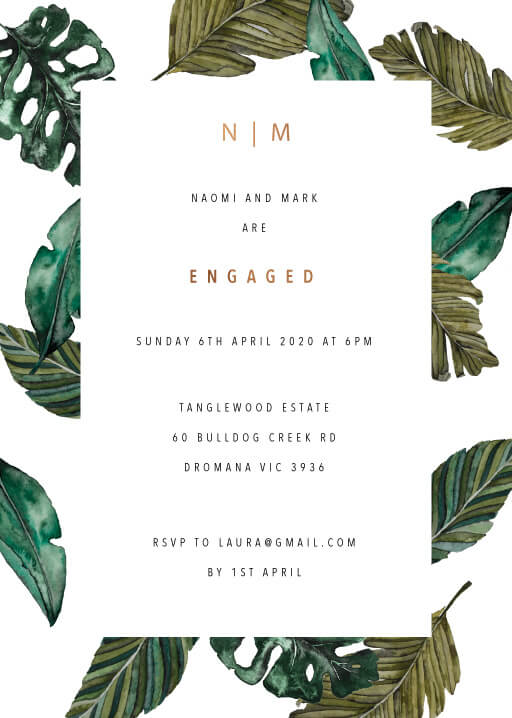 Moody Tropics - Engagement Invitations