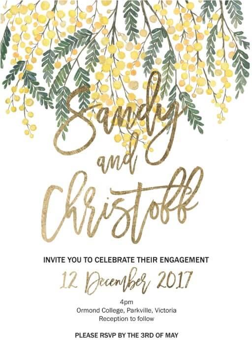 Golden Native - Engagement Invitations