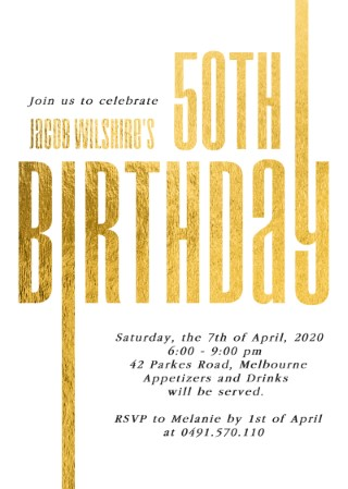 Line Up - Birthday Invitations