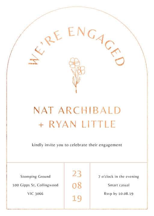 Rose Foil Arch - Engagement Invitations