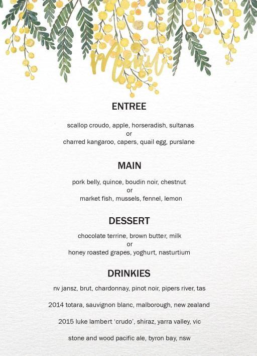 Golden Native - Wedding Menu