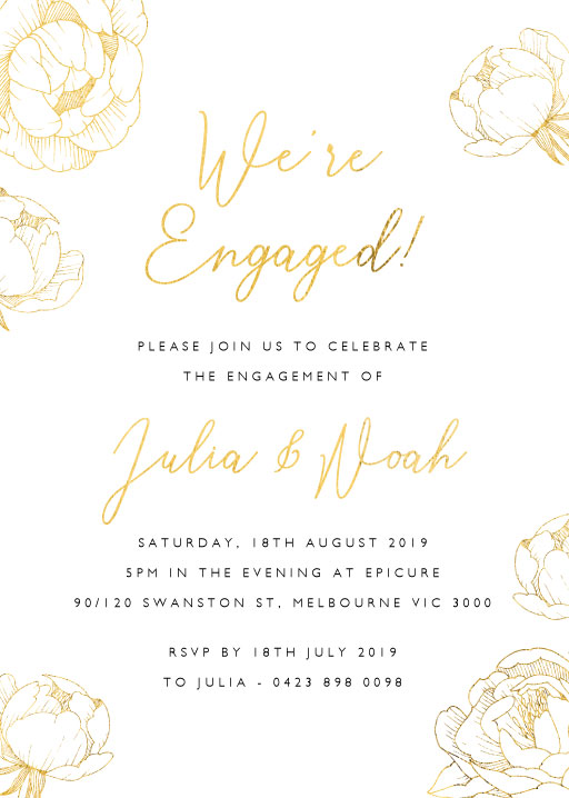 Peony Bloom - Engagement Invitations