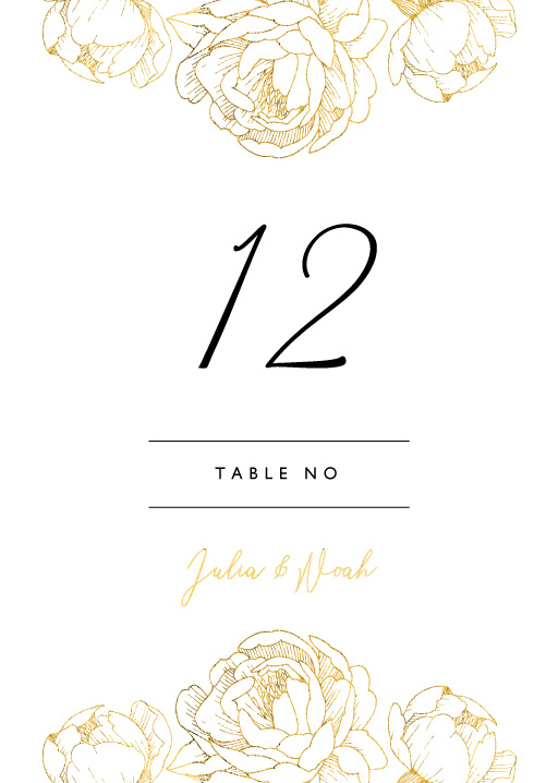 Peony Bloom - Table Numbers