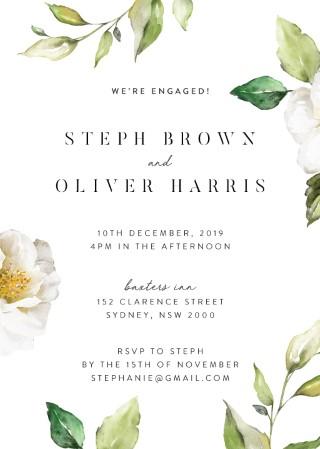White Garden - Engagement Invitations