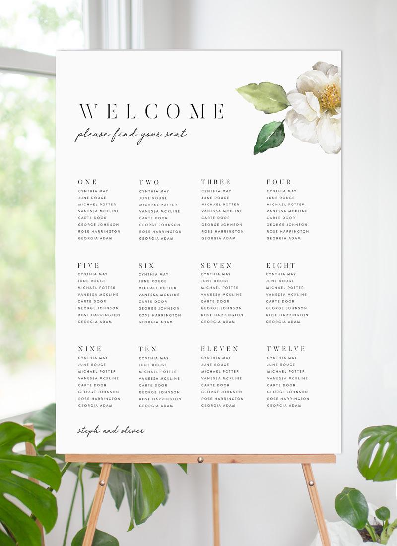 White Garden Digital Printing Seating Charts Paperlust