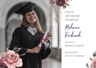 Flower Anchor - Graduation Invitations & Announcements
