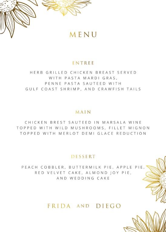 Golden Sunflower - Wedding Menu