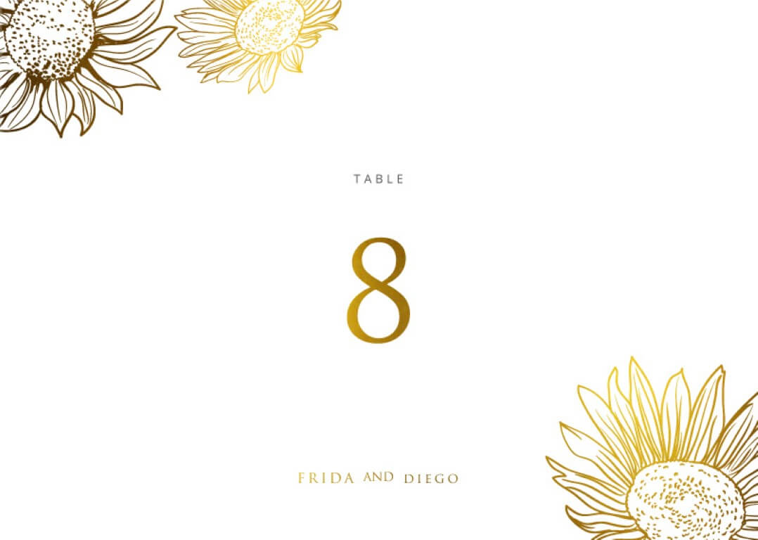 Golden Sunflower - table numbers