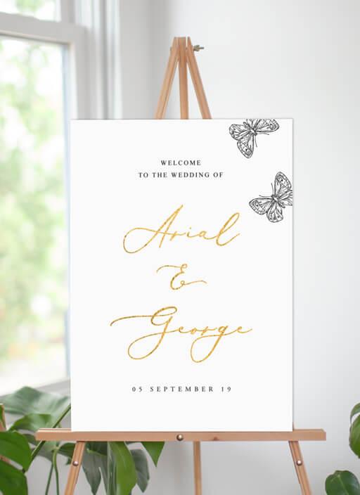 Golden Butterfly - Wedding Signs