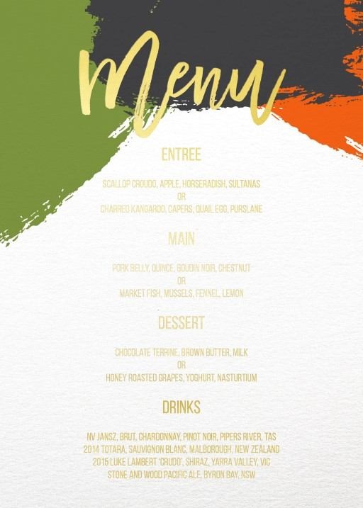 Colour block - Menu Card