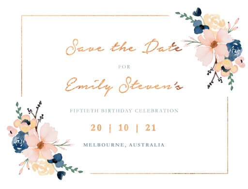 Blushing Blue Dinner Invitation - Save The Date