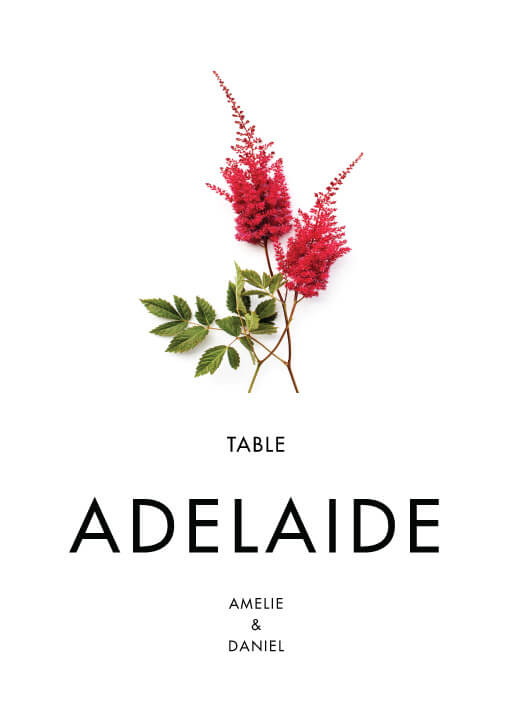 Blooming Red - table numbers