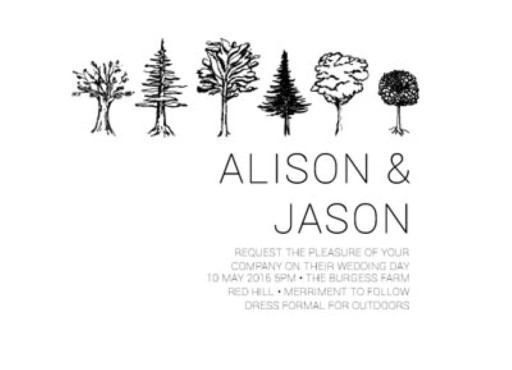 Paper Trees Wedding Set - Invitation