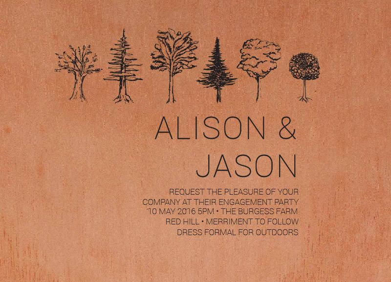 Paper Trees Wedding Set - Engagement Invitations