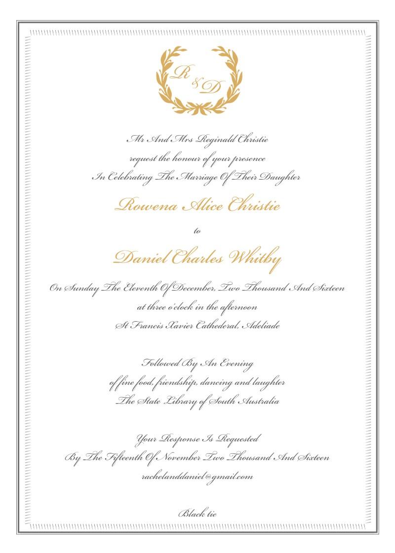 Regal Wreath | Letterpress & Foil | Wedding Invitations