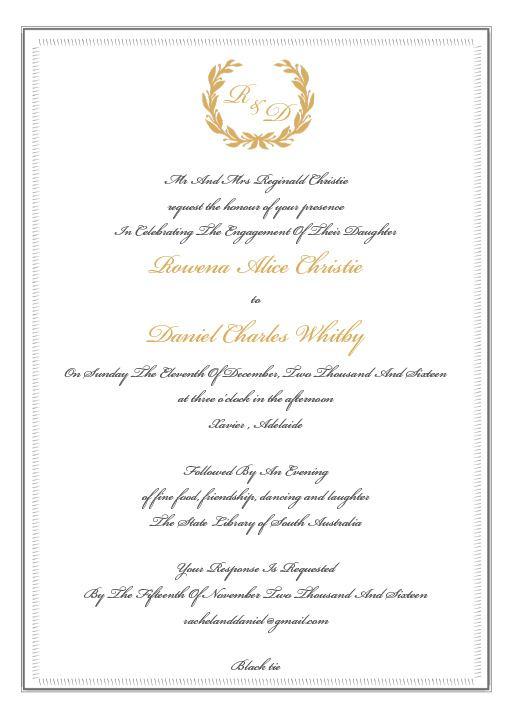 Regal Wreath - engagement invitations