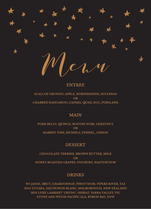 Stars in the night - Menu Card