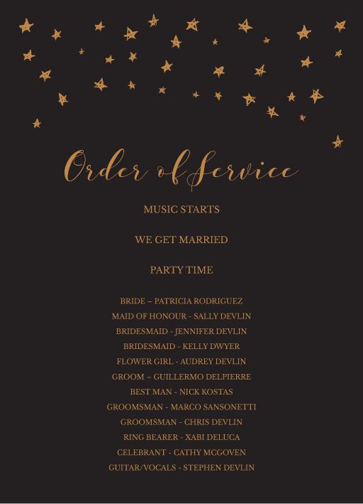 Stars in the night - Order of Service