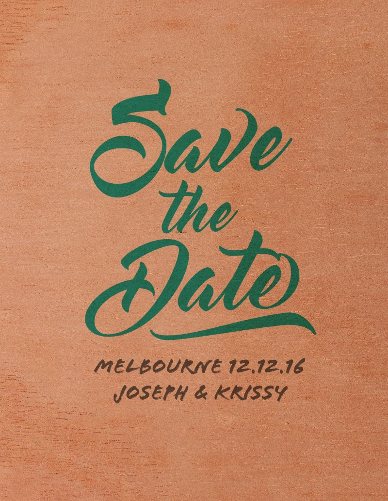 Modern Script Print On Wood Save The Date