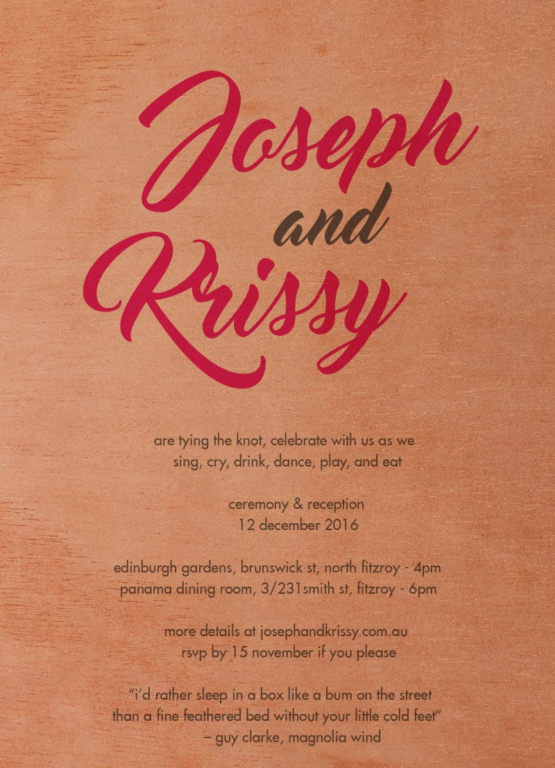 Modern Script | Print On Wood | Wedding Invitations