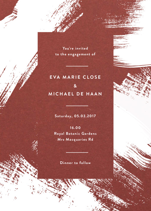 White Paint - engagement invitations