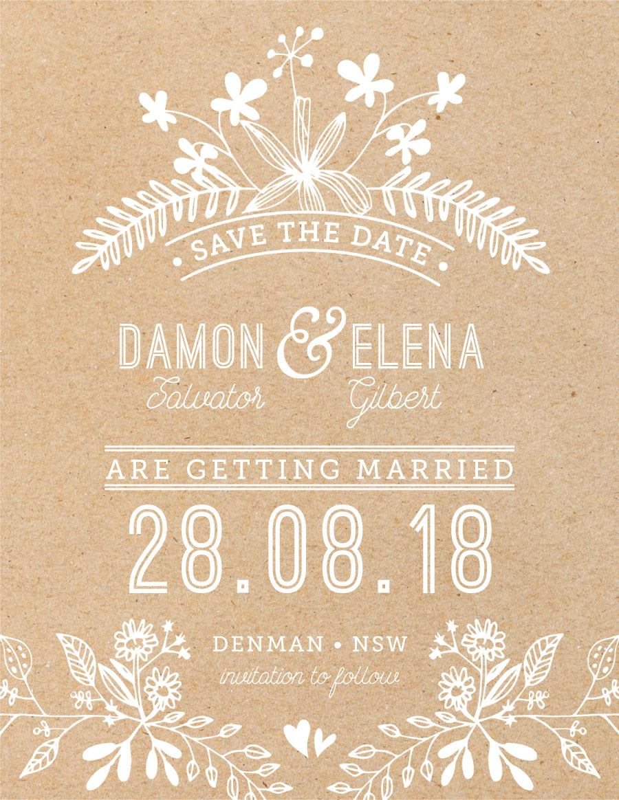 Rustic Floral Sketch - Save The Date