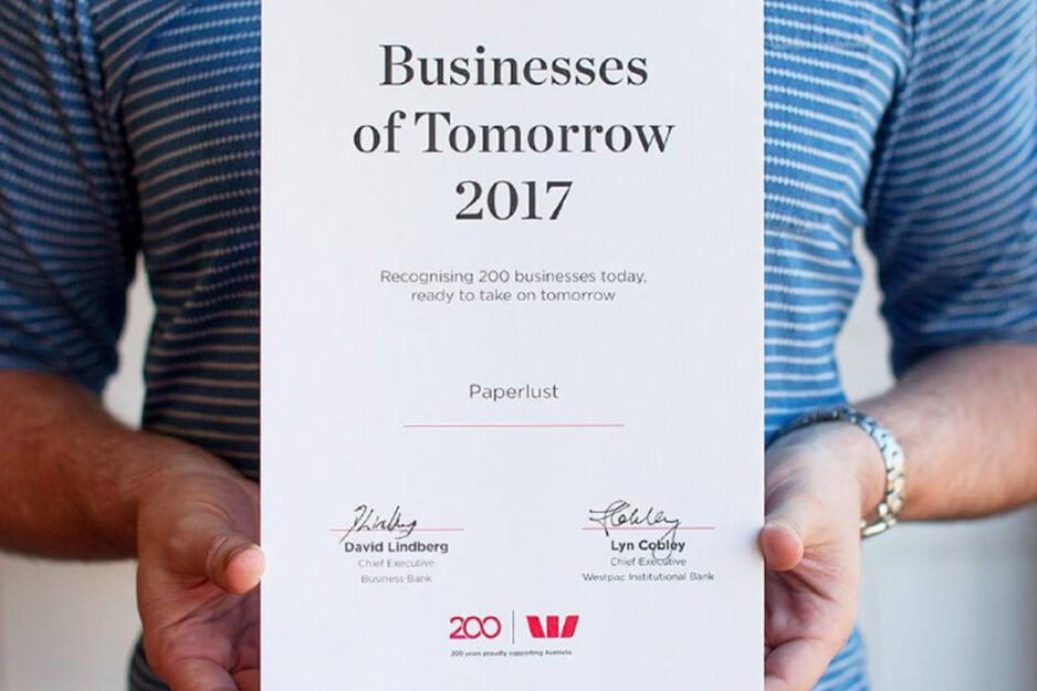 Westpac 2017 letterpress certificate design & print
