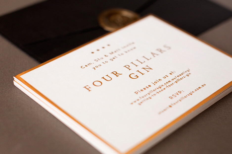 Four Pillar Gin Premium foil event invitation